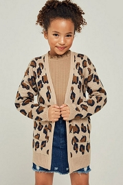Kid's Girl's Oversized Leopard Print Knit Sweater Cardigan with Pockets-Tan Leopard Print