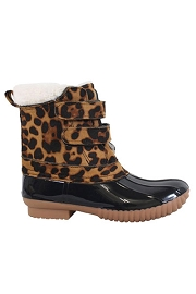 KIDS Girls Leopard Print Velcro Rubber Duck Boots-Black
