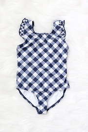 Kids One Piece V-Neck Swimsuit with Ruffle Shoulders-Gingham Print Blue