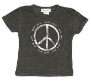 LollipopZen Vintage World Peace Burnout Baby Tee-Dark Grey (Kids 3M-4T)