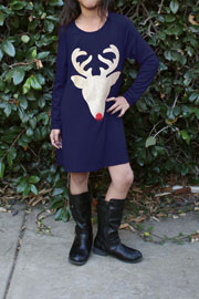 KIDS Long Sleeve Glitter Red Nose Reindeer Tunic Top Dress-Navy Blue