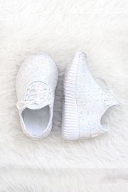BABYS' SIZE - Girls Lace Up Glitter Bomb Sneakers Shoes-White- (LIMITED TIME SALE!)