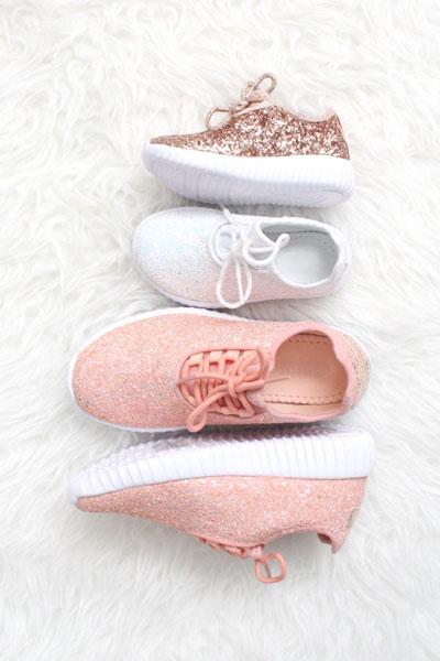 0da2ecdad4b KIDS  SIZE - Girls Lace Up Glitter Bomb Sneakers Shoes-Rose Gold