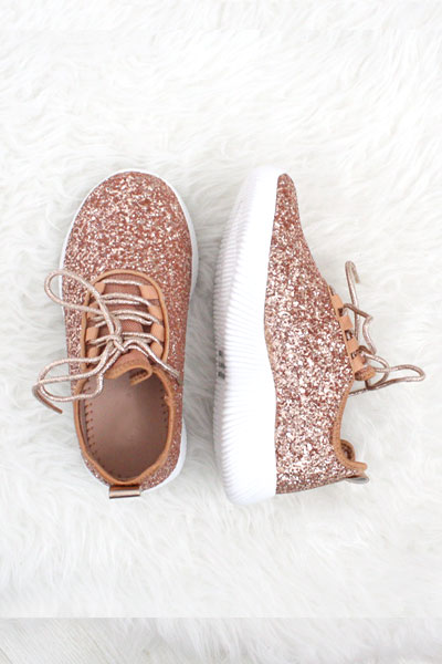 e05b20976931c KIDS' SIZE - Girls Lace Up Glitter Bomb Sneakers Shoes-Rose Gold- (LIMITED  TIME SALE!)