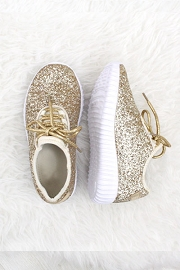 BLACK FRIDAY FLASH DEAL! ENDS SOON - KIDS' SIZE - Girls Lace Up Glitter Bomb Sneakers Shoes- Gold (LIMITED TIME SALE!)