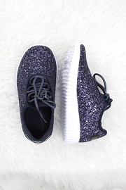 KIDS' SIZE - Girls Lace Up Glitter Bomb Sneakers Shoes-Navy Blue(LIMITED TIME SALE!)