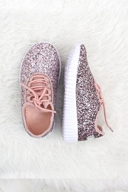 FLASH DEAL! ENDS SOON - KIDS' SIZE - Girls Lace Up Glitter Bomb Sneakers Shoes-Pink- (LIMITED TIME SALE!)