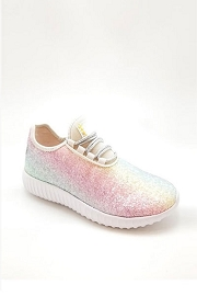 KIDS' SIZE - Girls Lace Up Glitter Bomb Sneakers Shoes-Rainbow Pink