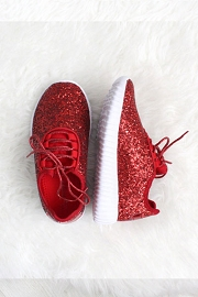 KIDS' SIZE - Girls Lace Up Glitter Bomb Sneakers Shoes-Red (LIMITED TIME SALE!)