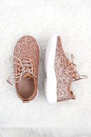 FLASH DEAL! ENDS SOON - KIDS' SIZE - Girls Lace Up Glitter Bomb Sneakers Shoes-Rose Gold- (LIMITED TIME SALE!)