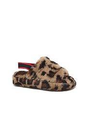 DOOR BUSTER: Kids Cozy Open Toe Slingback Fur Sandals Slides-Leopard Print