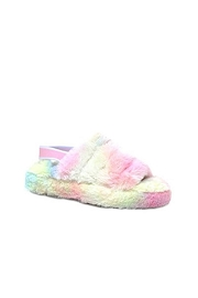 DOOR BUSTER: Cozy Open Toe Slingback Fur Sandals Slides-Tie Dye