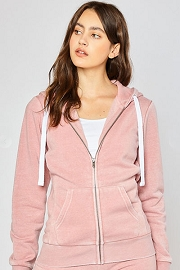 Burnout Fleece Zip Up Hoodie Sweater Jacket-Pink