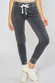 Burnout Fleece Jogger Sweat Pants-Grey