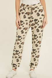 Leopard Print Lounge Joggers Pants with Pockets-Beige Brown