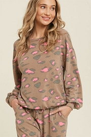Leopard Print Long Sleeve Lounge Sweater Top-Brown and Pink