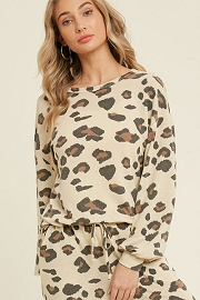 Leopard Print Long Sleeve Lounge Sweater Top-Beige Brown