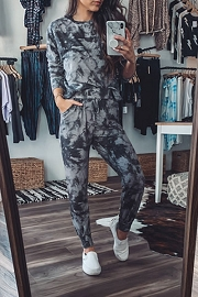 Long Sleeve Top and Joggers Pants Lounge Set-Black Tie Dye
