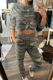 Long Sleeve Top and Joggers Pants Lounge Set-Camo Print