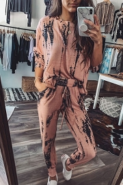 Long Sleeve Top and Joggers Pants Lounge Set-Peach Tie Dye
