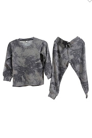 Baby and Toddler Long Sleeve Top and Joggers Pants Lounge Set-Black Tie Dye