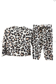 Baby and Toddler Long Sleeve Top and Joggers Pants Lounge Set-Leopard Print