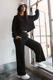 Knit Wide Leg Sweat Pants and Top Lounge Set-Black