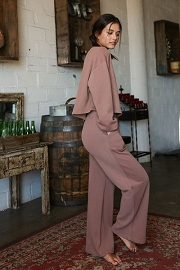 Knit Wide Leg Sweat Pants and Top Lounge Set-Mocha