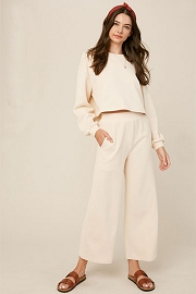 Knit Wide Leg Sweat Pants and Top Lounge Set-Ivory Off White