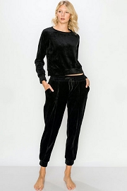 DOOR BUSTER: Solid Velour Long Sleeve Top and Joggers Pants Lounge Set (2 Piece Set)-Black