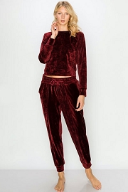 DOOR BUSTER: Solid Velour Long Sleeve Top and Joggers Pants Lounge Set (2 Piece Set)-Burgundy Dark Red