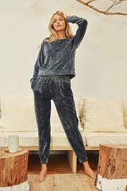 DOOR BUSTER: Solid Velour Long Sleeve Top and Joggers Pants Lounge Set (2 Piece Set)-Blue Grey