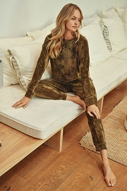 DOOR BUSTER: Solid Velour Long Sleeve Top and Joggers Pants Lounge Set (2 Piece Set)-Olive Green