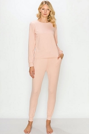 DOOR BUSTER: Solid Long Sleeve Top and Joggers Pants Lounge Set (2 Piece Set)-Pink