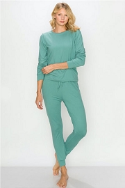 DOOR BUSTER: Solid Long Sleeve Top and Joggers Pants Lounge Set (2 Piece Set)-Blue Green