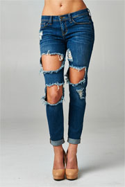 Mid-Rise Cutout Ripped Distressed Destroyed Denim Boyfriend Jeans-Dark Blue