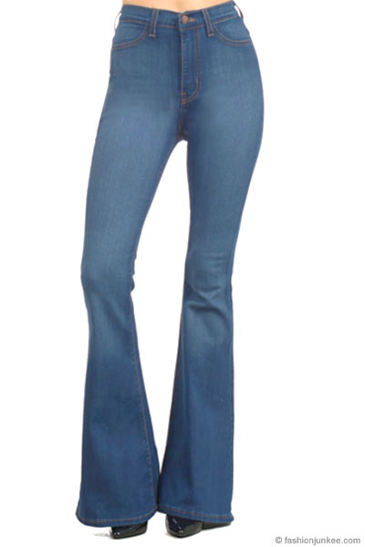well known 100% quality quarantee amazing price :As Seen In PEOPLE STYLEWATCH Magazine: Vintage Inspired High Waisted  Stretch Flared Bell Bottom Denim Jeans-Medium Wash Blue