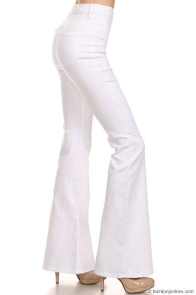 2f1ffaa0b16 Vintage Inspired High Waisted Stretch Flared Bell Bottom Denim Jeans-Dark  Wash Blue