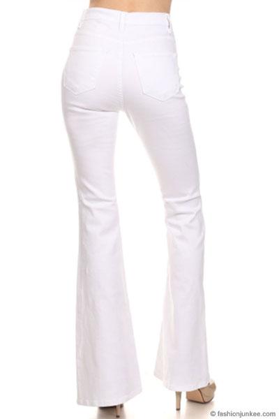 60badc6dd0f Vintage Inspired High Waisted Stretch Flared Bell Bottom Denim Jeans ...