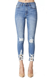 Stretch Ripped Leopard Print Distressed Hem Jeans-Blue & Leopard Print