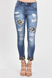 Stretch Ripped Leopard Print Patch Distressed Cutout Boyfriend Jeans-Blue & Leopard Print