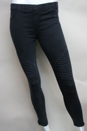 Motorcycle Zipper Stretch Jeggings-Black