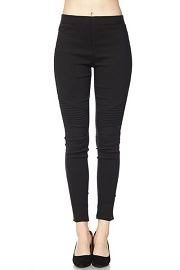 PLUS SIZE Moto Stretch Jeggings Pants-Black