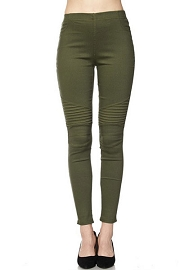 PLUS SIZE Moto Stretch Jeggings Pants-Olive Green