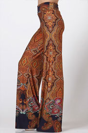 Foldover Waist Paisley Print Palazzo Long Gaucho Pants with Wide Legs-Brown