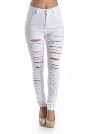 Stretch High Waisted Ripped Distressed Destroyed Skinny Jeans-White