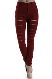 Stretch Mid-Rise Ripped Distressed Destroyed Skinny Jeans-Burgundy Dark Red