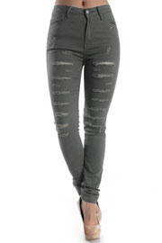 Stretch Mid-Rise Ripped Distressed Destroyed Skinny Jeans-Grey
