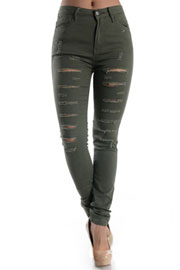 Stretch Mid-Rise Ripped Distressed Destroyed Skinny Jeans-Olive Green