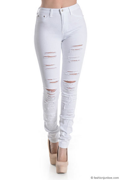 Greet Go back rich  Stretch Mid-Rise Ripped Distressed Destroyed Skinny Jeans-White